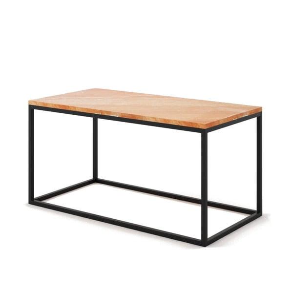 Velký béžový konferenční stůl z mramoru s černým podnožím Absynth Noi Spain