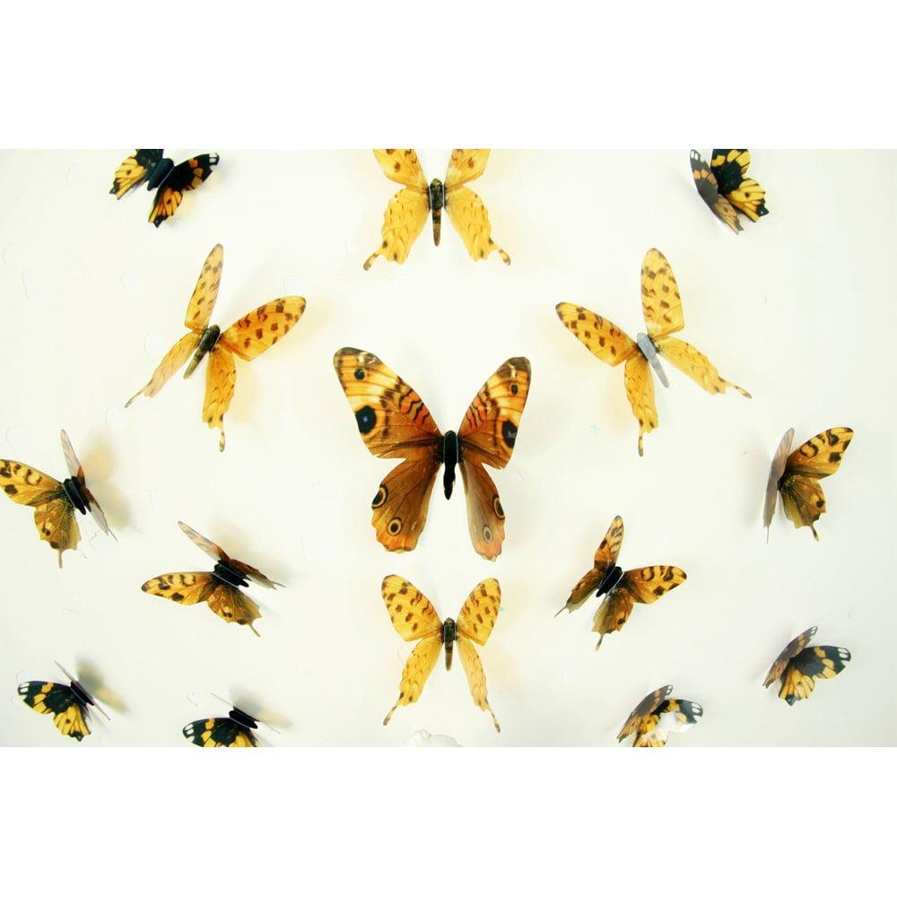Sada 18 adhezivních 3D samolepek Fanastick Butterflies Yellow