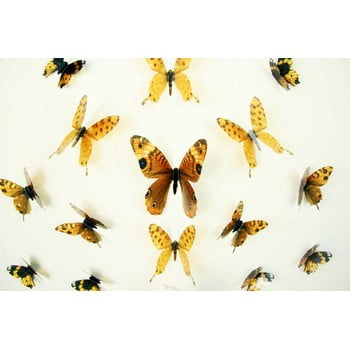 Set 18 autocolante cu efect 3D Ambiance Butterflies Yellow de la Ambiance
