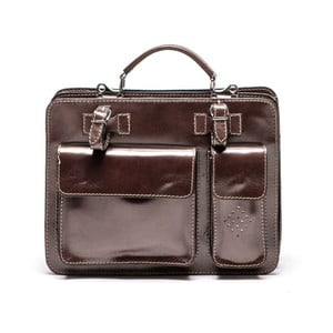 Tmavě hnědá kožená kabelka Luisa Vannini Domenica