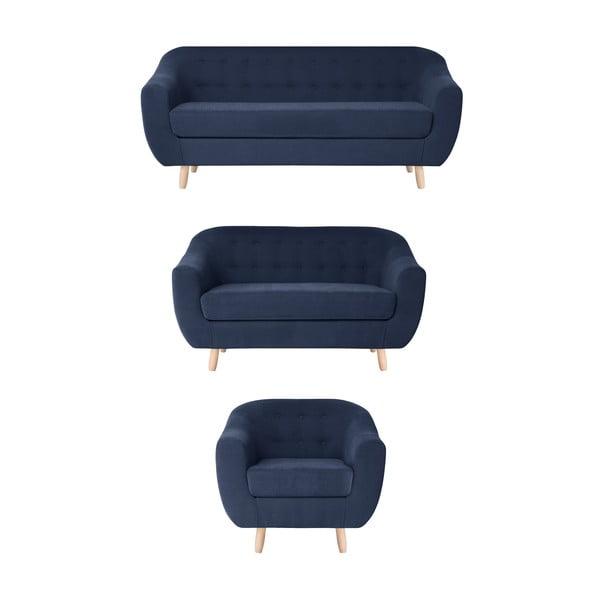 Sada námořnicky modré křesla a dvoumístné a trojmístné pohovky Jalouse Maison Vicky