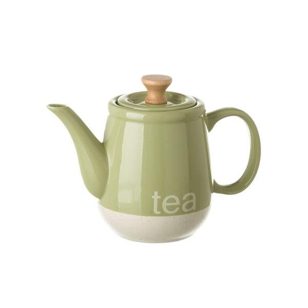 Zielony dzbanek kamionkowy do herbaty Unimasa