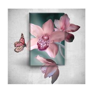 Nástěnný 3D obraz Mosticx Pink Butterfly With Flowers, 40 x 60 cm
