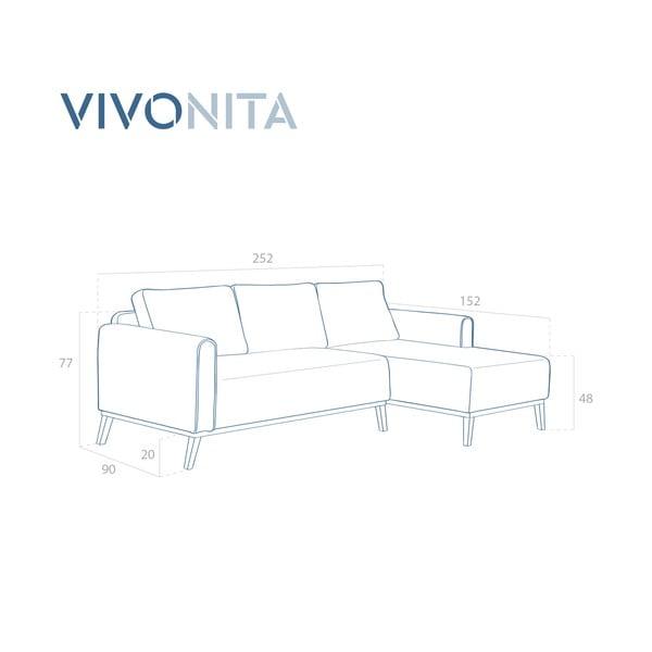 Hořčicově žlutá 3místná sedačka pravý roh Vivonita Milton Trend