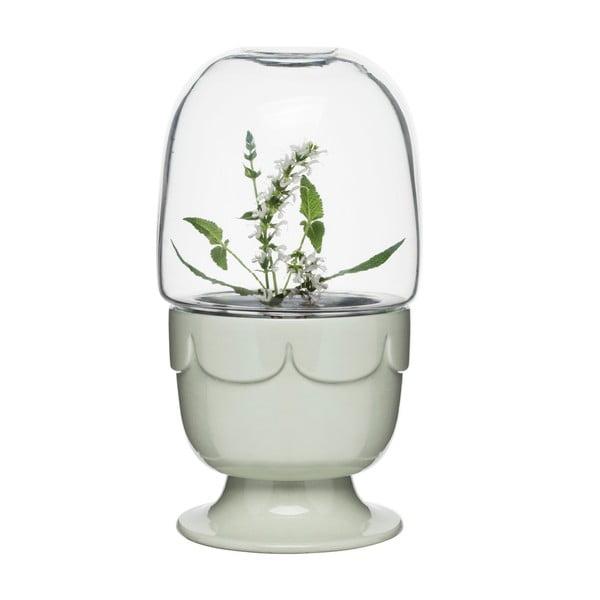 Světle zelený porcelánový květináč s poklopem Sagaform Greenhouse
