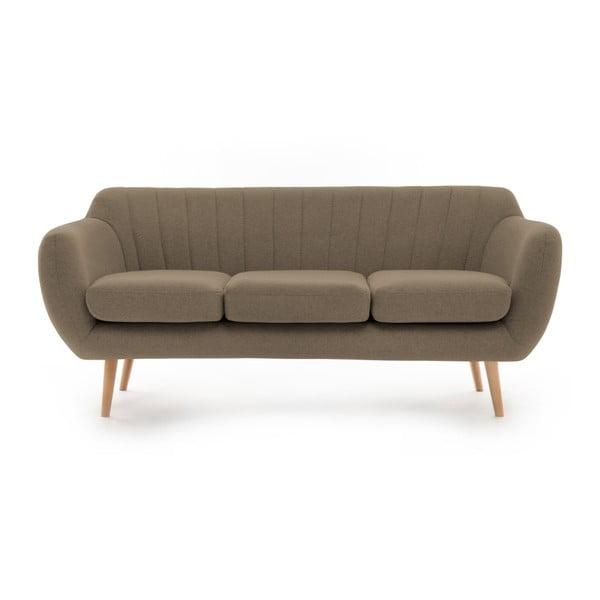 Canapea cu 3 locuri Vivonia Kennet, maro - cenușiu