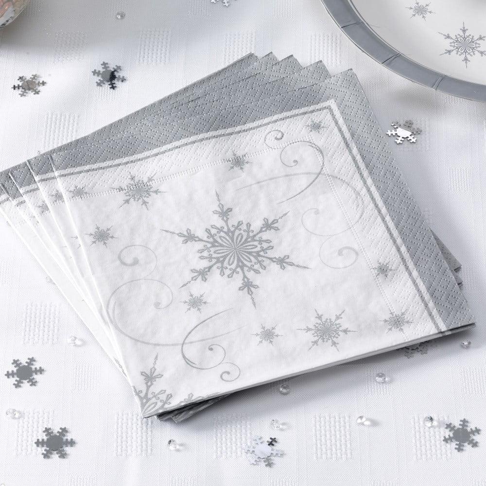 Sada 20 papírových ubrousků Neviti Shimmering Snowflake, 16,5x16,5cm
