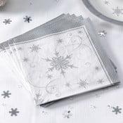 Sada 20 ubrousků Neviti Shimmering Snowflake