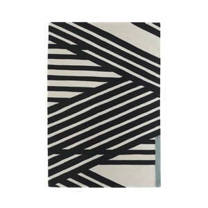 Ručně tkaný černo-bílý vlněný koberec Art For Kids Stripes, 160x230cm