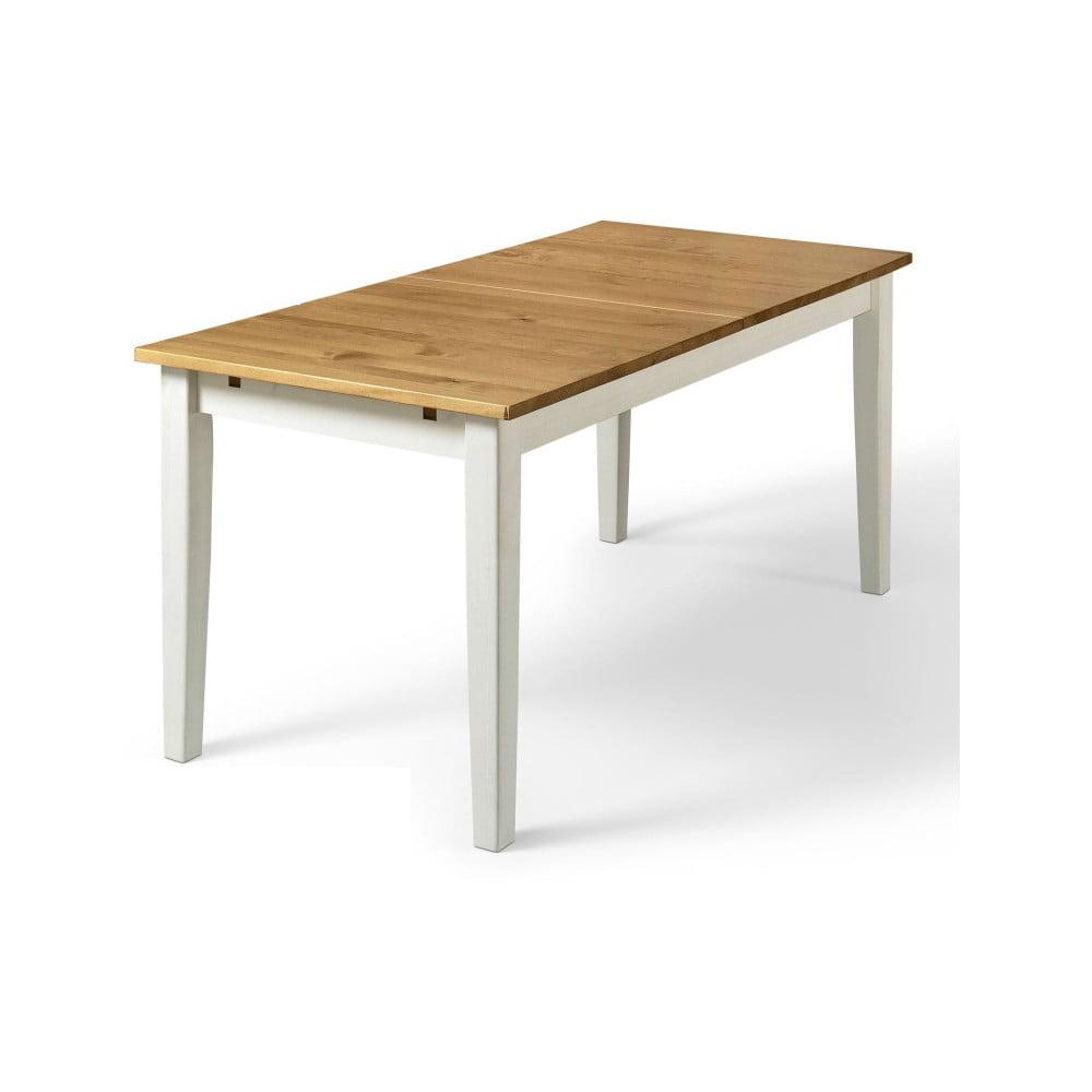Jídelní stůl z borovicového masivu s bílými nohami Støraa Daisy, 75 x 160 cm