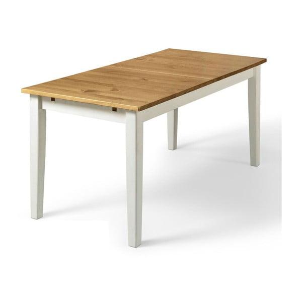 Daisy tömör fenyőfa étkezőasztal fehér lábakkal, 75 x 160 cm - Støraa
