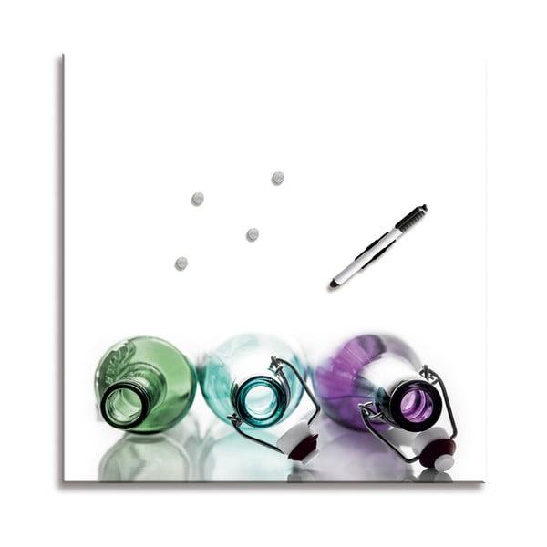 Magnetická tabule Coloured Bottles, 50x50 cm