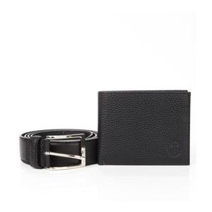 Pánský dárkový set černé kožené peněženky a pásku Trussardi Abel