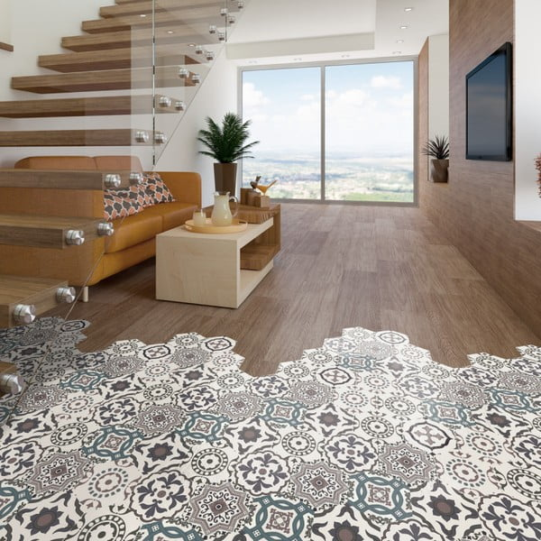 Sada 10 samolepek na podlahu Ambiance Floor Stickers Hexagons Solenna, 40 x 90 cm