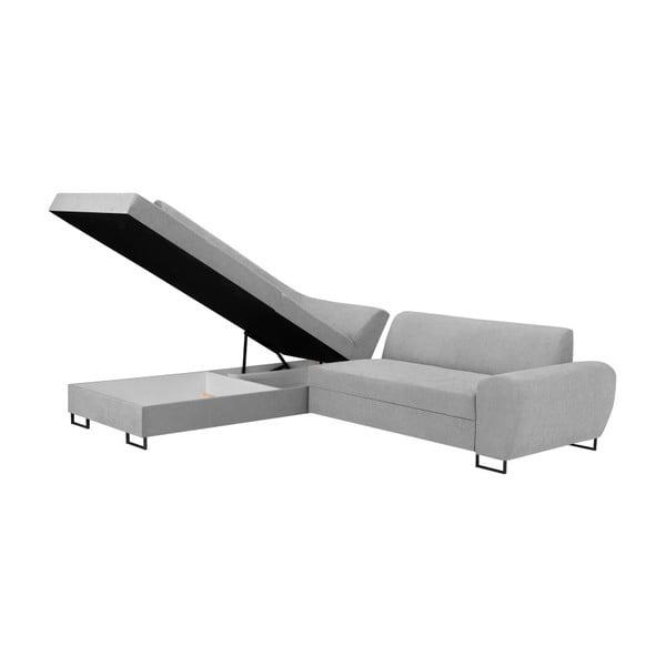 Canapea extensibilă cu spațiu pentru depozitare Kooko Home XL Left Corner Sofa Piano,gri