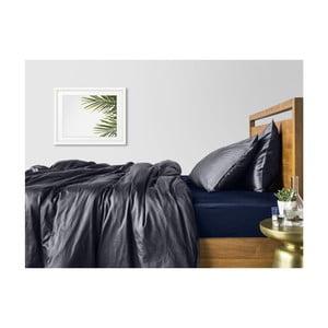 Šedo bavlněné povlečení na dvoulůžko s modrým prostěradlem COSAS Muno, 200 x 220 cm