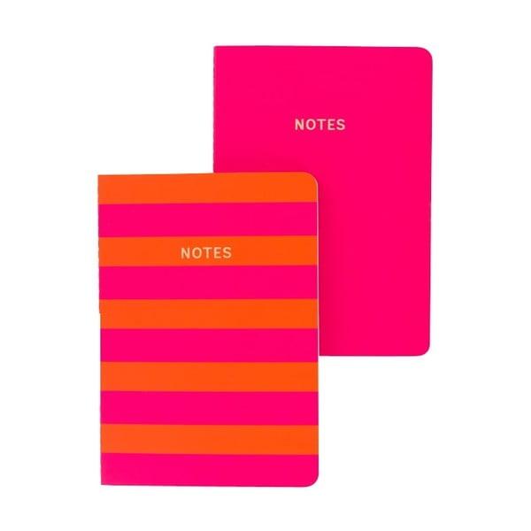 Sada 2 růžovo-oranžových zápisníků A6 GO Stationery Stripe