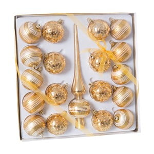Sada 18 zlatých vánočních baněk a špičky Unimasa