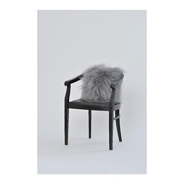 Oboustranný kožešinový polštář s dlouhým chlupem Grey, 50x50 cm