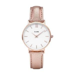 Dámské hodinky s metalicky růžovým řemínkem Cluse Minuit Gold