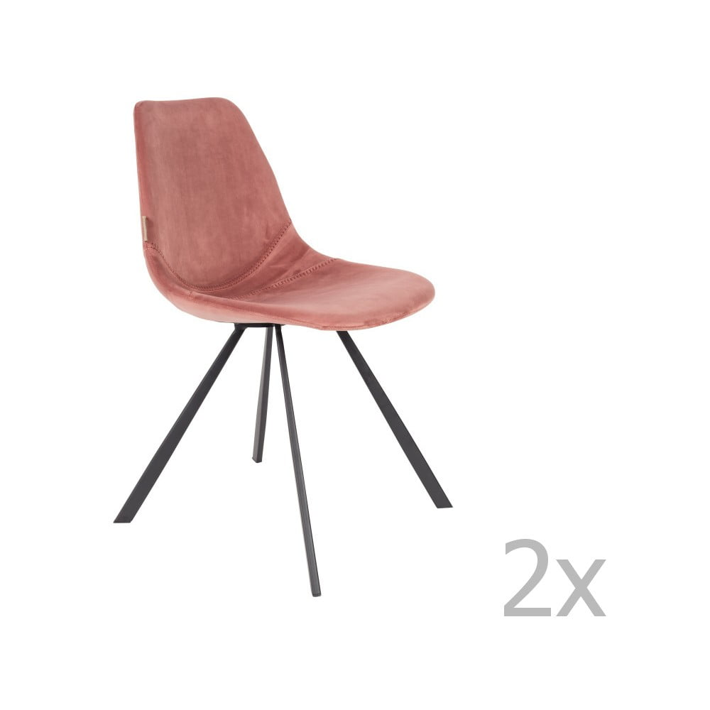 Sada 2 starorůžových židlí se sametovým potahem Dutchbone Franky