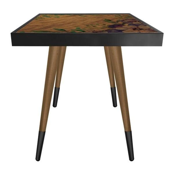 Príručný stolík Caresso Wooden Water Lily Square, 45 × 45 cm