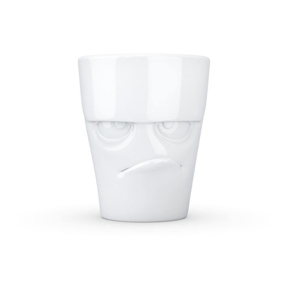 Bílý naštvaný porcelánový hrnek s ouškem 58products