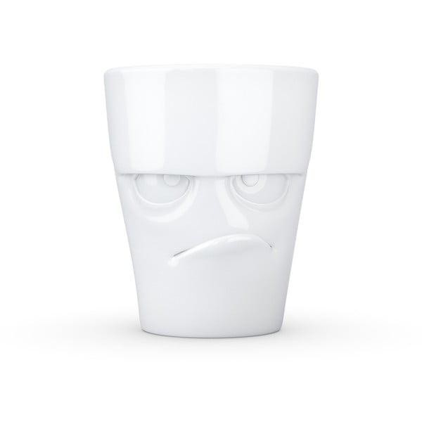 Biely nahnevaný porcelánový hrnček s uškom 58products