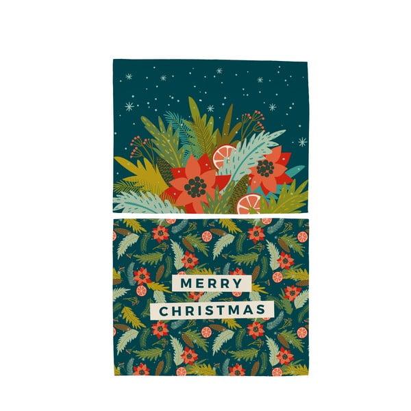 Zestaw 2 bawełnianych mat stołowych ze świątecznym motywem Butter Kings Happy Merry, 45x35 cm