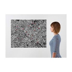 Černá nástěnná mapa Palomar Pin Paříž