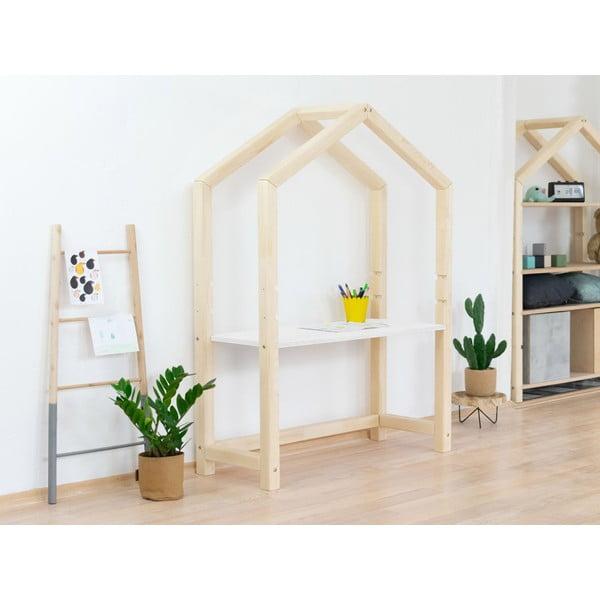 Naturalny drewniany stół w kształcie domku z białym blatem Benlemi Stolly, 97x133 cm
