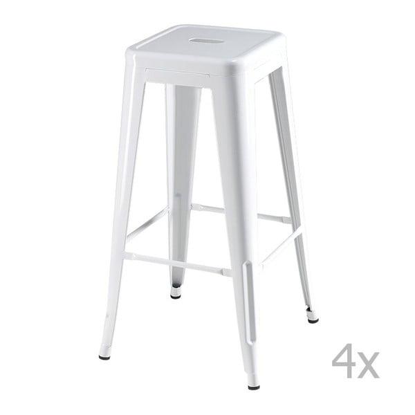 Sada 4 bílých barových stoliček Furnhouse Korona