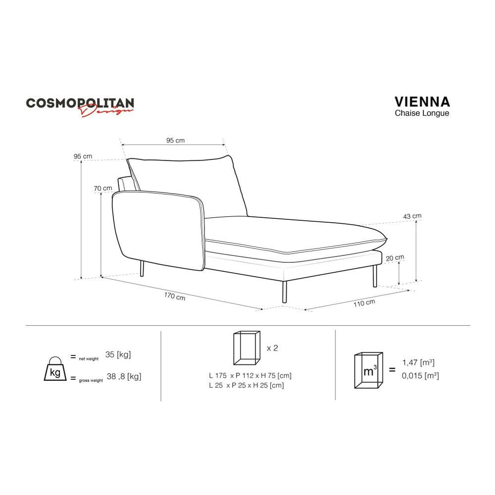 Produktové foto Petrolejově modrá sametová lenoška Cosmopolitan Design Vienna, levý roh