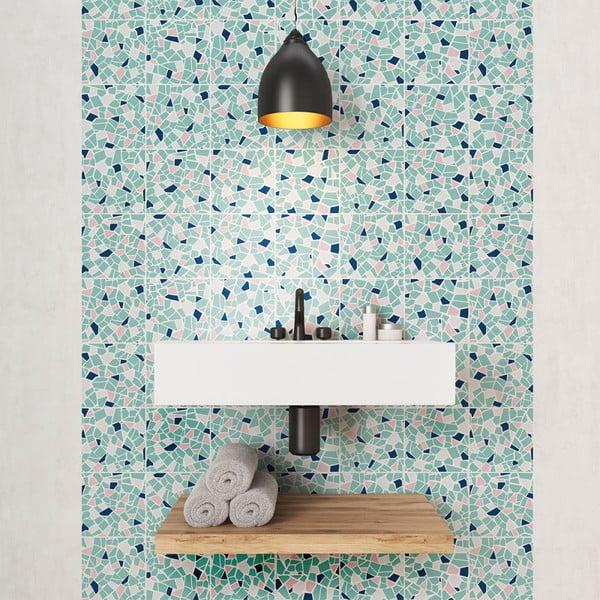 Sada 24 nástěnných samolepek Ambiance Cement Tile Stickers Terrazzo Aqua, 10 x 10 cm