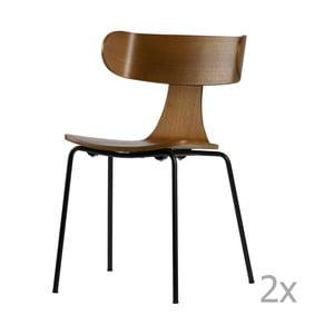 Sada 2 jídelních židlí z tmavé jasanové dýhy De Eekhoorn Form