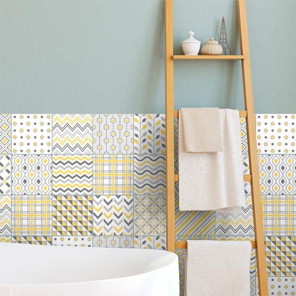 Sada 24 nástěnných samolepek Ambiance Scandinavian Tiles Stockholm, 10 x 10 cm