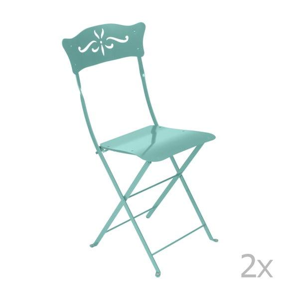 Sada 2 modrých kovových skládacích zahradních židlí Fermob Bagatelle