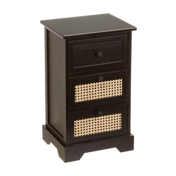 Czarna komoda z drewna Paulownia z 3 szufladami i dekoracyjnym wzorem Unimasa Rejilla