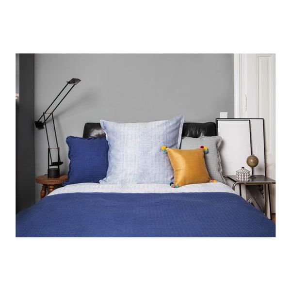 Modré povlečení na jednolůžko z bavlněného damašku Casa di Bassi Vintage, 155x220cm