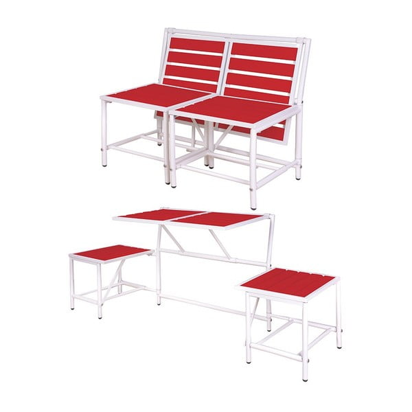 Skládací lavice Magical, červená