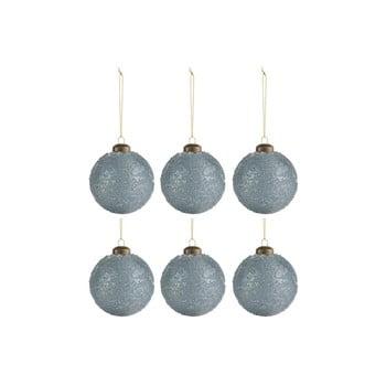Set 6 globuri pentru Crăciun J-Line Sugar, ø 8 cm, albastru - gri imagine