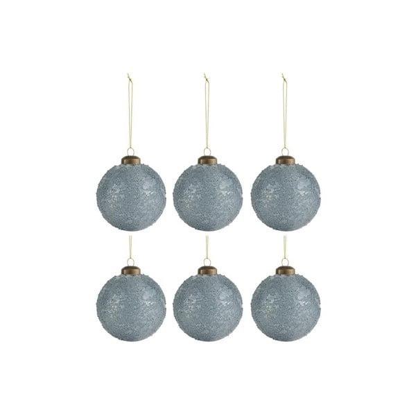 Sada 6 modro-šedých vánočních ozdob J-Line Sugar,ø8cm