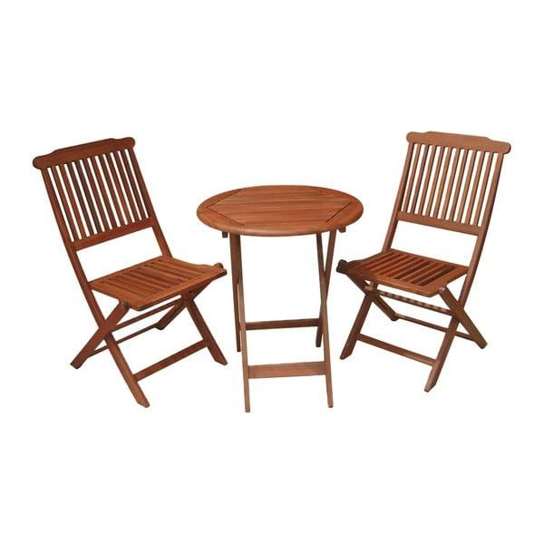 Set 2 balkonových židlí a stolu z eukalyptového dřeva ADDU Prague