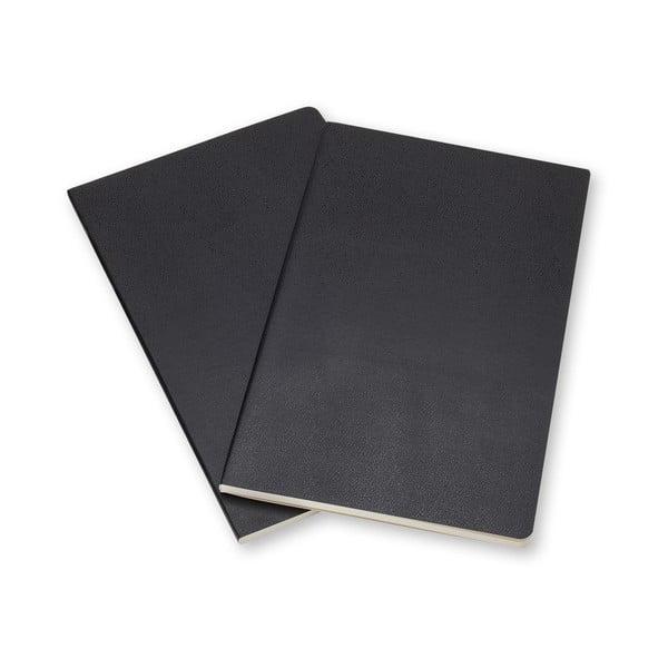 Sada 2 černých notesů Moleskine Volant 7x11 cm, linkované