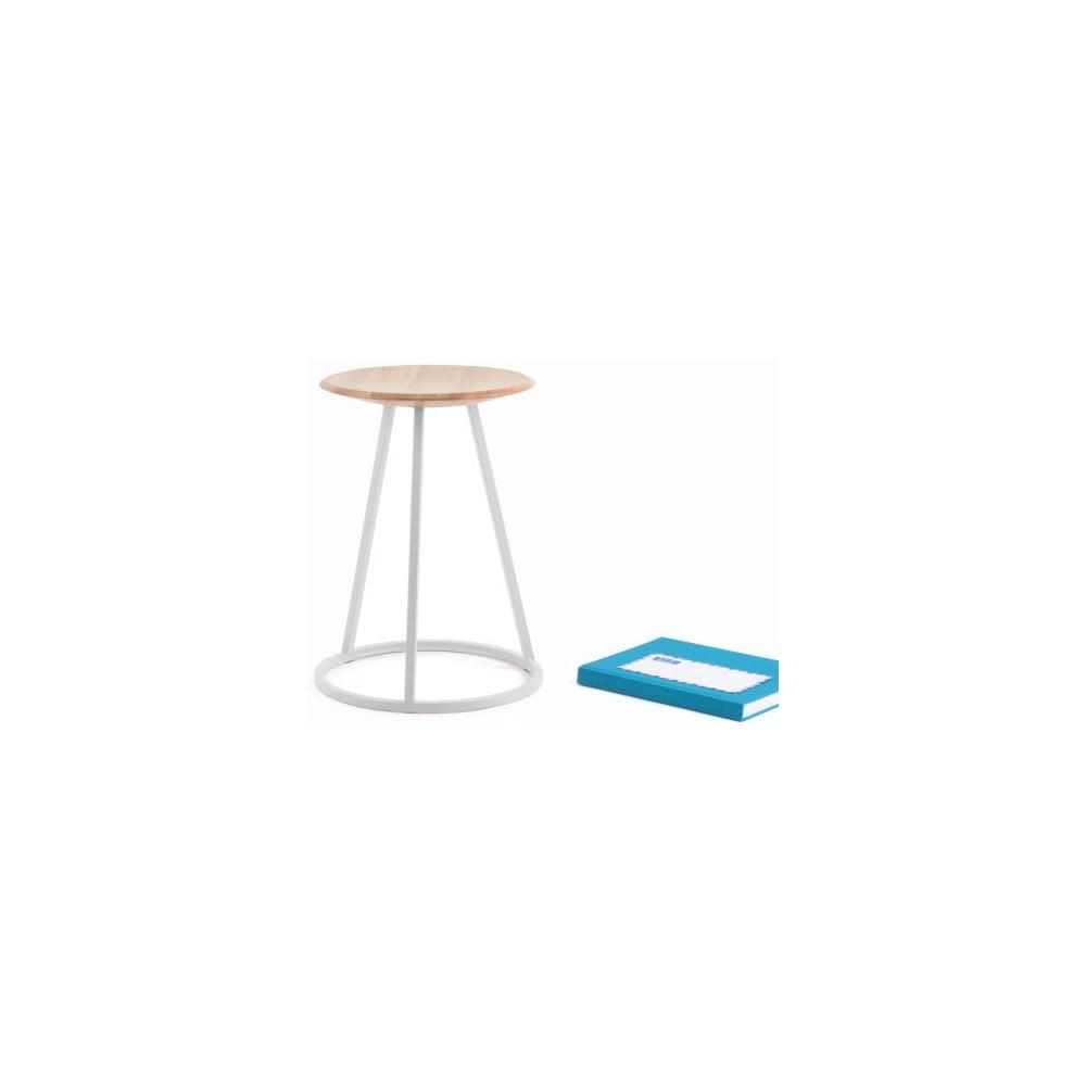 Stolička s dubovou deskou a světle šedou kovovou konstrukcí HARTÔ Gustave, výška 45cm