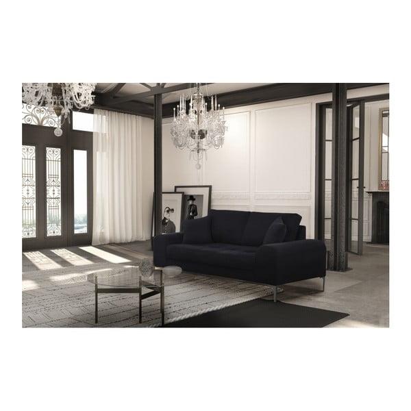 Set canapea neagră cu 2 locuri, 2 scaune negre, o saltea 140 x 200 cm Home Essentials