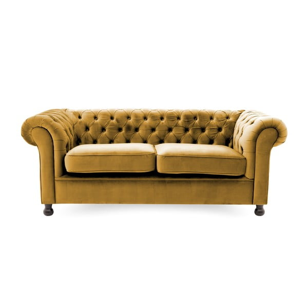 Musztardowa sofa trzyosobowa Vivonita Chesterfield