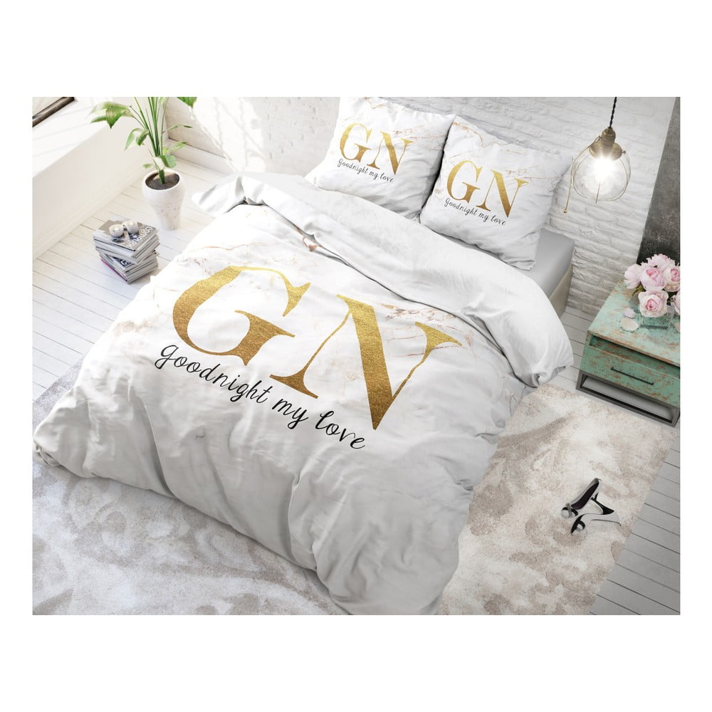 Bavlněné povlečení na jednolůžko Sleeptime Good Night, 140 x 220 cm