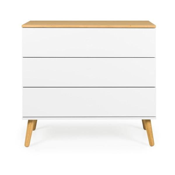 Bílá komoda s detaily s nohami z dubového dřeva se 3 zásuvkami Tenzo Dot, 90 x 79 cm