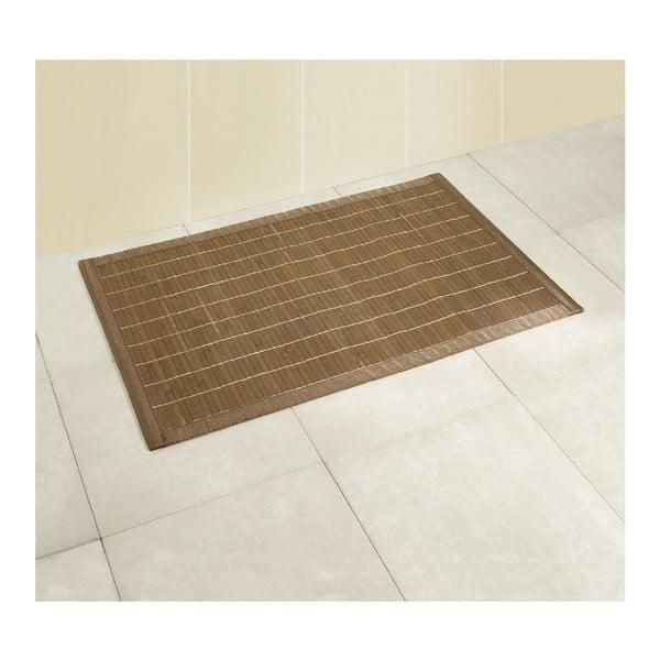 Tmavá koupelnová podložka z bambusu Wenko, 50x80 cm